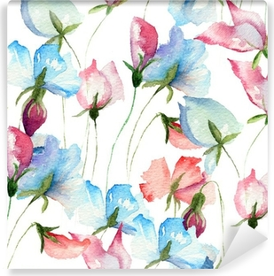 Seamless wallpaper with Sweet pea flowers Vinyl Wall Mural