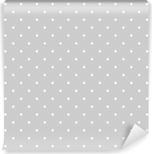 Seamless white and grey vector pattern or tile background with polka dots Vinyl Wall Mural