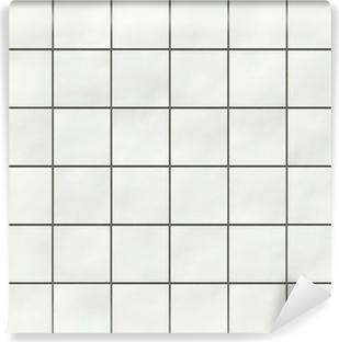 Seamless White Square Tiles Texture Self Adhesive Wall Mural