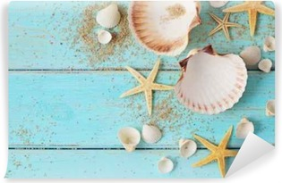 seashells frame background on wooden board Vinyl Wall Mural