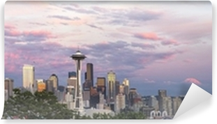 Seattle City Downtown Skyline at Sunset Panorama Vinyl Wall Mural