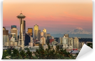 Seattle Skyline and Mount Rainier at Sunset Vinyl Wall Mural