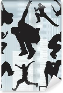 set vector silhouettes parkour Vinyl Wall Mural
