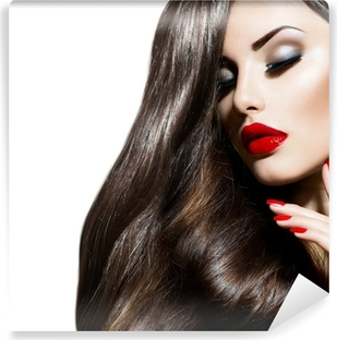 Sexy Beauty Girl with Red Lips and Nails. Provocative Makeup Vinyl Wall Mural