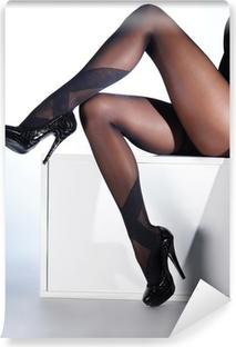 Sexy female legs in black erotic stockings and high heels Vinyl Wall Mural
