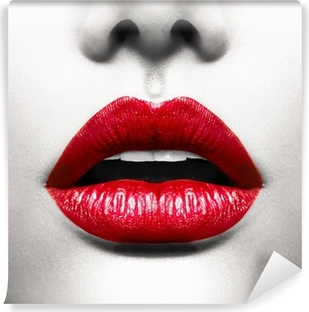 Sexy Lips. Conceptual Image with Vivid Red Open Mouth Vinyl Wall Mural