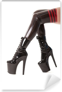 Sexy long legs in latex stockings and high heel boots Vinyl Wall Mural