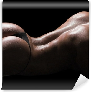 Sexy woman body, wet skin, black background Vinyl Wall Mural
