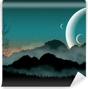 SF space night sky with silhouette mountains and close planets Vinyl Wall Mural