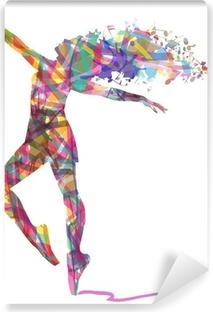 silhouette di ballerina composta da colori Vinyl Wall Mural