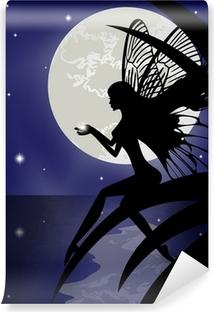 Silhouette fairy girl holding a star Vinyl Wall Mural