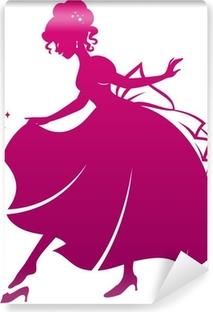 silhouette of Cinderella wearing her glass slipper Vinyl Wall Mural
