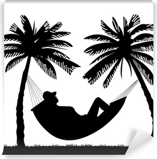 Silhouette Of Girl Hammock Under The Palm Trees On Beach Self Adhesive Wall Mural