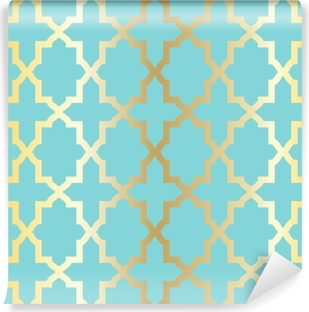 Simple abstract arabesque pattern - turquoise and golden. Vinyl Wall Mural