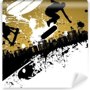 Skateboard abstract city background Vinyl Wall Mural