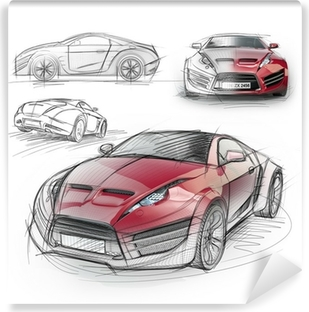 Sports car blueprint original car design wall mural pixers sketch drawing of a sports car non branded concept car vinyl wall mural malvernweather Choice Image