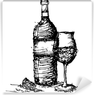 sketch drawing of wine bottle and glass Vinyl Wall Mural