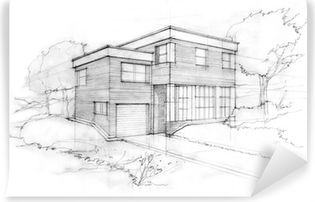 Sketch of a modern cubic house. First idea of an architect. Vinyl Wall Mural