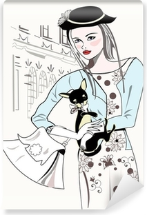 Sketch of fashion retro girl with a little dog Vinyl Wall Mural