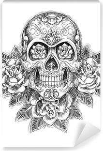 Sketchy Skull with Roses Vinyl Wall Mural