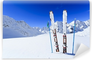 Ski, winter season , mountains and ski equipments Vinyl Wall Mural