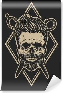 Skull with a beard and a stylish haircut. Vinyl Wall Mural