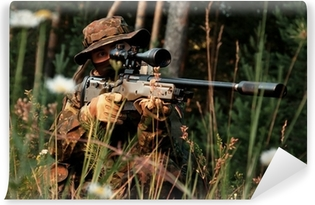Sniper takes aim from a position. In the field of chamomile Vinyl Wall Mural