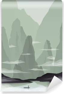 Southeast Asia landscape vector illustration with rocks, cliffs and sea. China or Vietnam tourism promotion. Vinyl Wall Mural