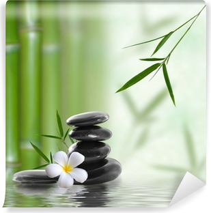 wallpaper spa concept with zen basalt stones bamboo and Frangipani flower Spa flower peel and stick or classic glue photo mural