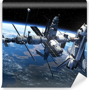 Space Shuttle And Space Station In Space Vinyl Wall Mural