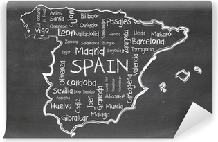 spain on blackboard Vinyl Wall Mural