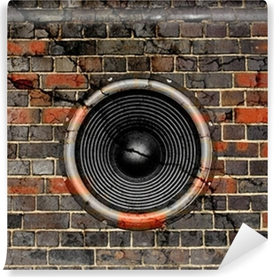 Speaker on a cracked brick wall background Vinyl Wall Mural