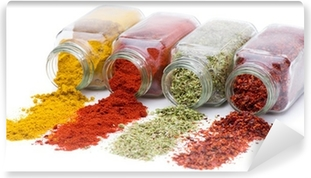 Spice pouring out of set of spice jars Vinyl Wall Mural