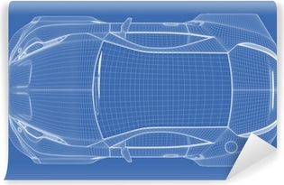 Sports car blueprint non branded concept car wall mural pixers sports car blueprint vinyl wall mural malvernweather Choice Image