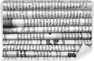 Stack of newspapers in black and white Vinyl Wall Mural