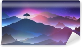Starry Night in the Mountains with a Lone Tree - Vector Illustration. Vinyl Wall Mural