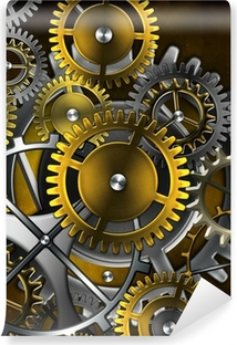 steampunk old gear mechanism on the background of old vintage pa Vinyl Wall Mural