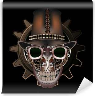 Steampunk skull wearing top hat Vinyl Wall Mural