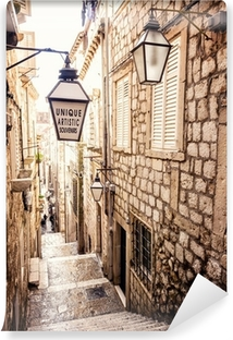 Steep stairs and narrow street in old town of Dubrovnik Vinyl Wall Mural
