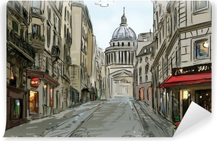 Street in paris - illustration Vinyl Wall Mural
