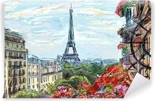 Street in paris - illustration Vinyl Wall Mural