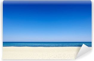 Summer blue sky sea coast sand background copyspace. Vinyl Wall Mural