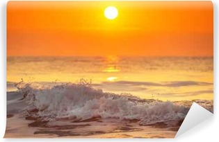 Sunrise and shining waves in ocean Vinyl Wall Mural