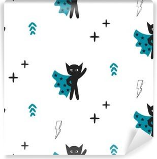 Superhero in blue cape with stars seamless kid pattern. Hero boy in mask black and white pattern for baby textile prints. Vinyl Wall Mural