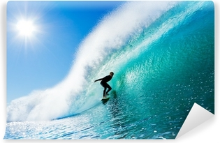 Surfer on Blue Ocean Wave Vinyl Wall Mural