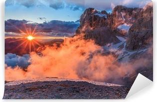 suset in Dolomite Alps, Italy Vinyl Wall Mural