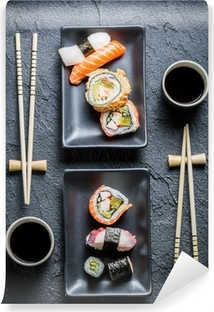 Sushi for two served on black stone Vinyl Wall Mural
