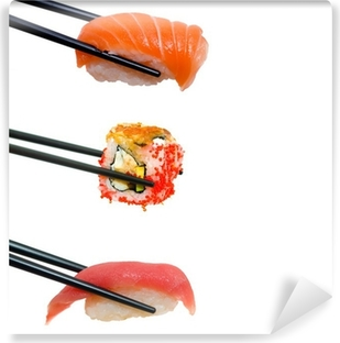 Sushi with chopsticks Vinyl Wall Mural