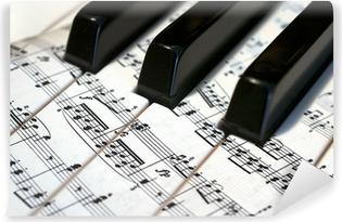Teclas de piano con notas musicales Vinyl Wall Mural