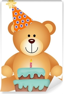 Teddy Bear with Birthday Cake Vinyl Wall Mural